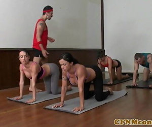 CFNM yoga milf gang closeup..